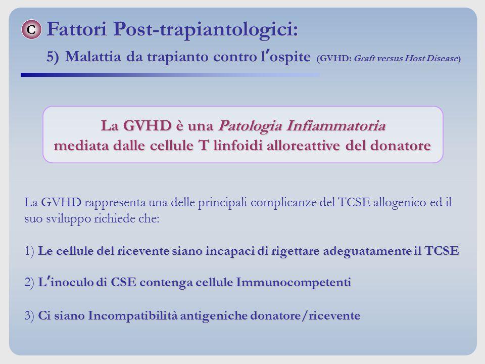 La GVHD è una Patologia Infiammatoria mediata dalle cellule T linfoidi alloreattive del donatore La GVHD rappresenta una delle principali complicanze