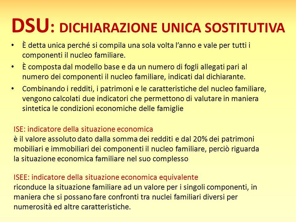 DSU : DICHIARAZIONE UNICA SOSTITUTIVA È detta unica perché si compila una sola volta l'anno e vale per tutti i componenti il nucleo familiare. È compo