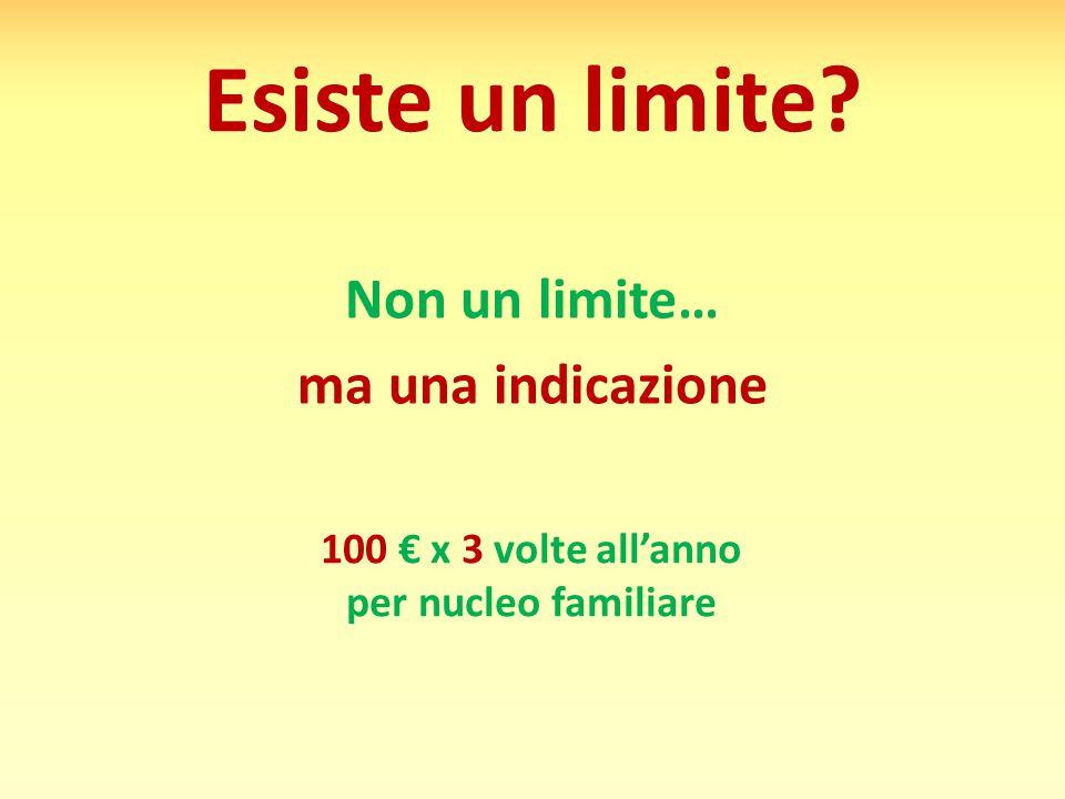 Esiste un limite? 100 € x 3 volte all'anno per nucleo familiare Non un limite… ma una indicazione