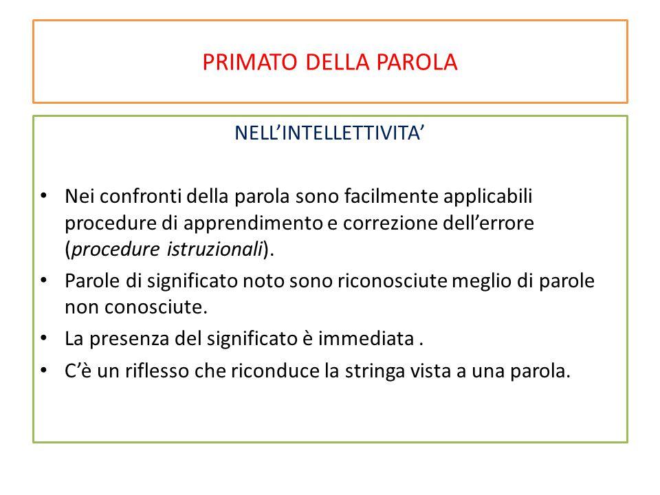PRIMATO DELLA PAROLA NELL'INTELLETTIVITA' Nei confronti della parola sono facilmente applicabili procedure di apprendimento e correzione dell'errore (procedure istruzionali).