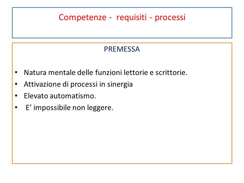 Competenze - requisiti - processi Tre competenze compositive della lettura 1.La decifrazione dei segni: riconoscimento dei segni, in sequenza da sinistra a destra e loro associazione ai suoni corrispondenti (strumentalità).