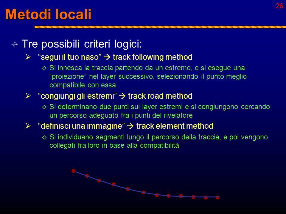 25 Metodi locali  Tre possibili criteri logici:  segui il tuo naso  track following method ◊ Si innesca la traccia partendo da un estremo, e si esegue una proiezione nel layer successivo, selezionando il punto meglio compatibile con essa  congiungi gli estremi  track road method ◊ Si determinano due punti sui layer estremi e si congiungono cercando un percorso adeguato fra i punti del rivelatore