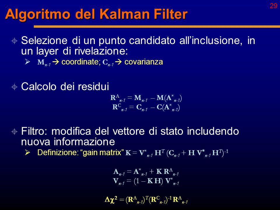 """28 Algoritmo del Kalman Filter  Start: """"seeding""""  Stime ragionevoli per A n e V n a partire da alcuni punti.  Propagazione  stima del vettore di s"""