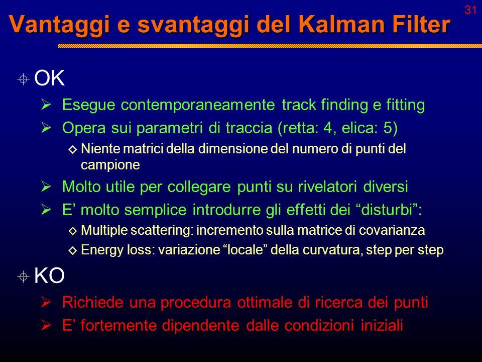 30 Kalman Filter  Track finding:  Single step: ◊ Propagazione su più punti sul layer in studio ◊ Inclusione del punto che determina il minimo  2 