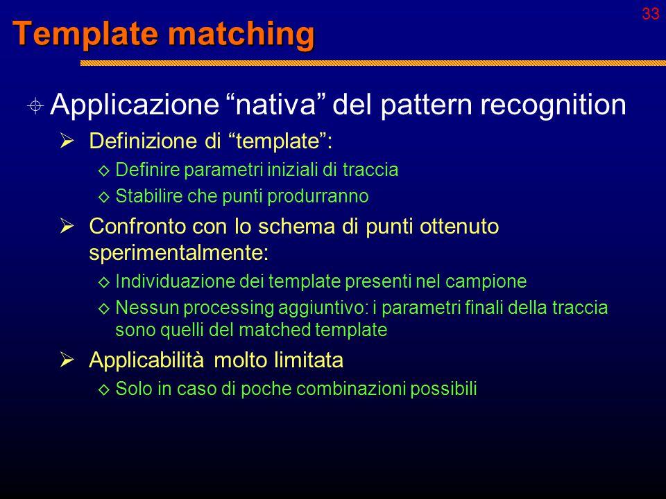 32 Metodi globali  Combinatorio totale  Analisi di tutte le possibilità  Template matching  Confronto con modelli  Histogramming  Ricerca di configurazioni ripetitive  Metodi neurali o neural-like  Associazioni locali