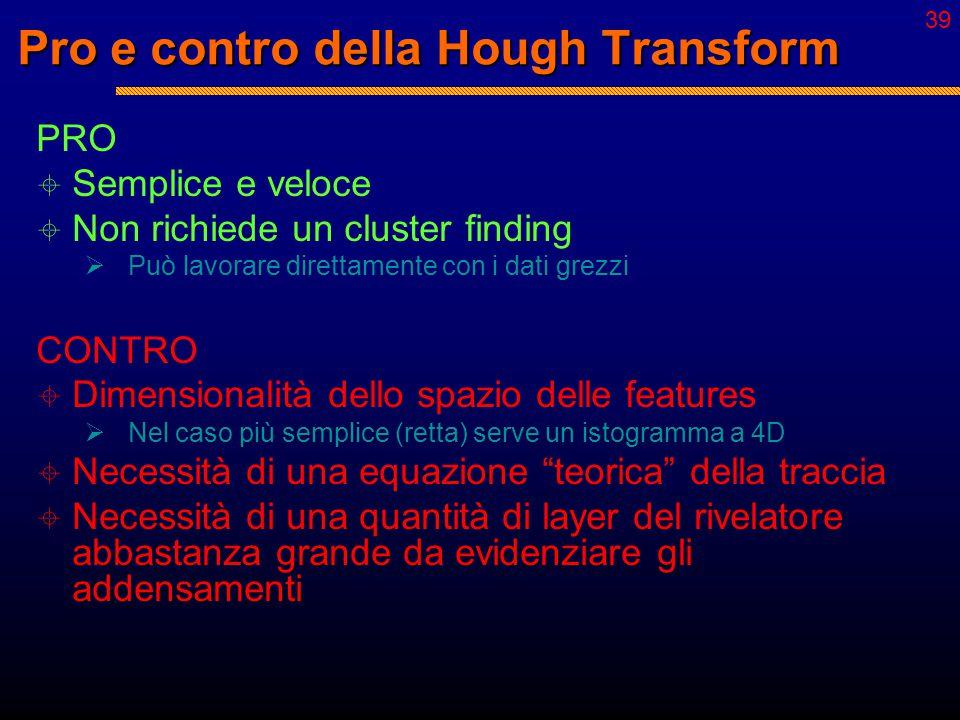 38 Hough Transform: procedimento  Esempio: rette nel piano da un punto fisso  Equazione: y = mx [m = tan(  )] 1. Estrazione di  da tutte le coppie
