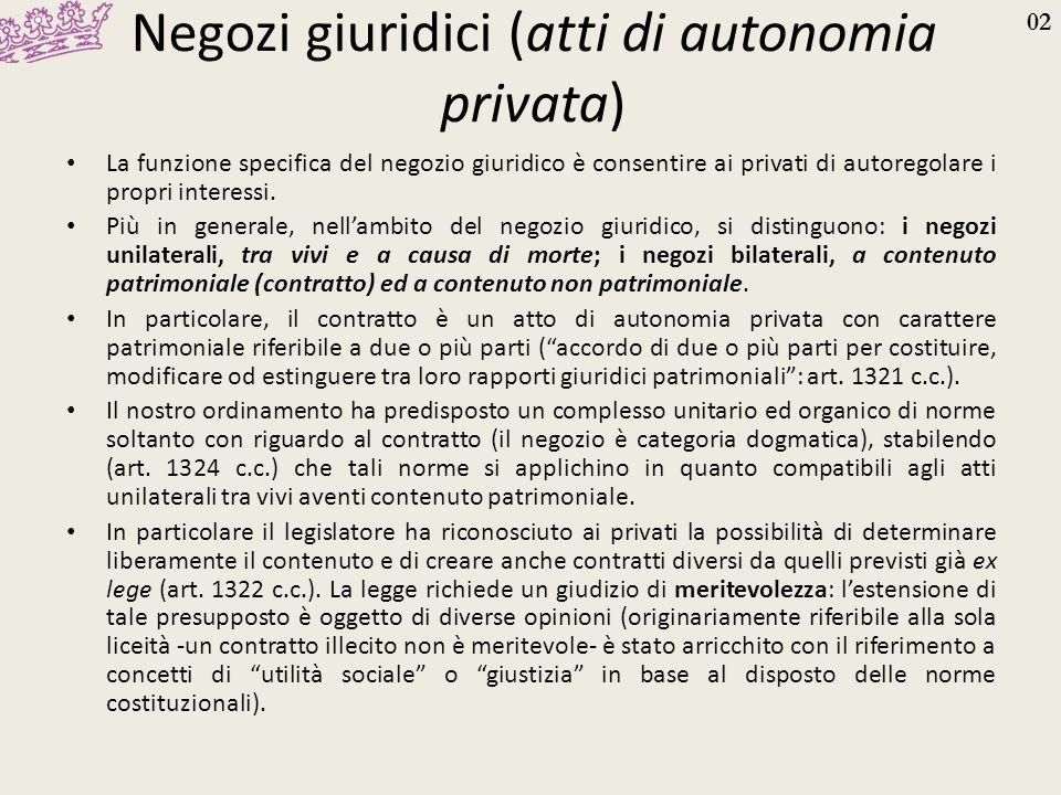 02 Negozi giuridici (atti di autonomia privata) La funzione specifica del negozio giuridico è consentire ai privati di autoregolare i propri interessi