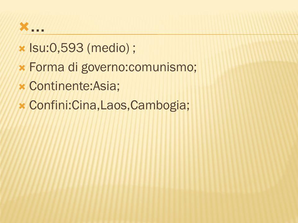 ……  Isu:0,593 (medio) ;  Forma di governo:comunismo;  Continente:Asia;  Confini:Cina,Laos,Cambogia;