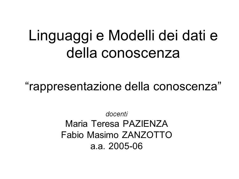 """Linguaggi e Modelli dei dati e della conoscenza """"rappresentazione della conoscenza"""" docenti Maria Teresa PAZIENZA Fabio Masimo ZANZOTTO a.a. 2005-06"""