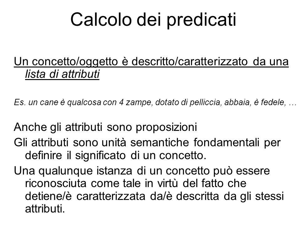 Calcolo dei predicati Un concetto/oggetto è descritto/caratterizzato da una lista di attributi Es. un cane è qualcosa con 4 zampe, dotato di pelliccia