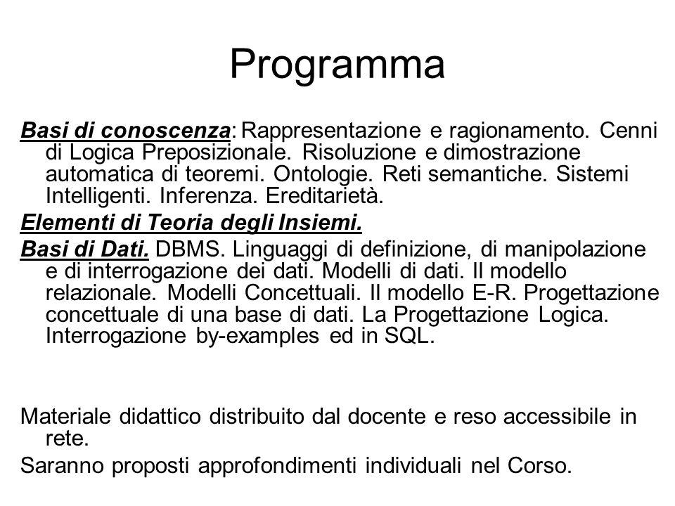 Programma Basi di conoscenza: Rappresentazione e ragionamento. Cenni di Logica Preposizionale. Risoluzione e dimostrazione automatica di teoremi. Onto