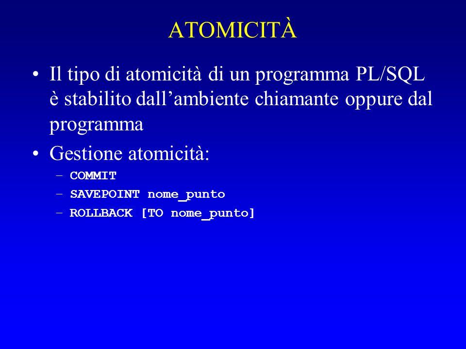 ATOMICITÀ Il tipo di atomicità di un programma PL/SQL è stabilito dall'ambiente chiamante oppure dal programma Gestione atomicità: –COMMIT –SAVEPOINT nome_punto –ROLLBACK [TO nome_punto]