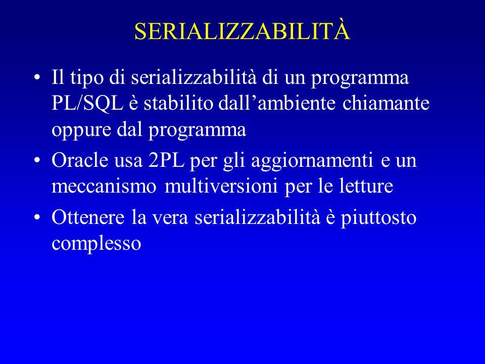 SERIALIZZABILITÀ Il tipo di serializzabilità di un programma PL/SQL è stabilito dall'ambiente chiamante oppure dal programma Oracle usa 2PL per gli aggiornamenti e un meccanismo multiversioni per le letture Ottenere la vera serializzabilità è piuttosto complesso