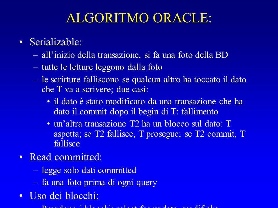 ALGORITMO ORACLE: Serializable: –all'inizio della transazione, si fa una foto della BD –tutte le letture leggono dalla foto –le scritture falliscono se qualcun altro ha toccato il dato che T va a scrivere; due casi: il dato è stato modificato da una transazione che ha dato il commit dopo il begin di T: fallimento un'altra transazione T2 ha un blocco sul dato: T aspetta; se T2 fallisce, T prosegue; se T2 commit, T fallisce Read committed: –legge solo dati committed –fa una foto prima di ogni query Uso dei blocchi: –Prendono i blocchi: select for update, modifiche –Non blocchi ma snapshot: select normale