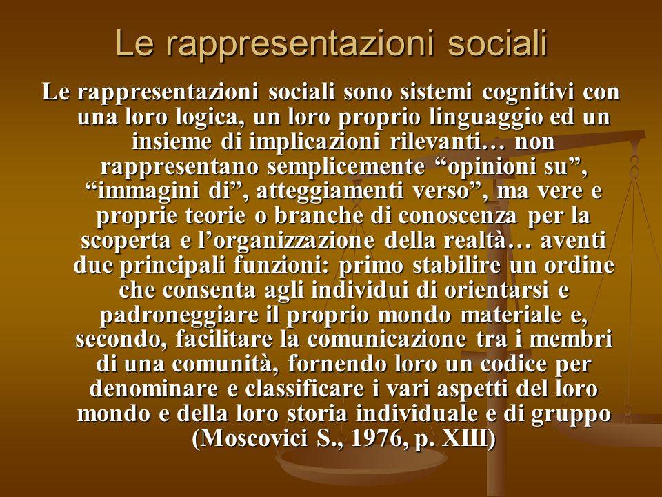 Le rappresentazioni sociali Le rappresentazioni sociali sono sistemi cognitivi con una loro logica, un loro proprio linguaggio ed un insieme di implic