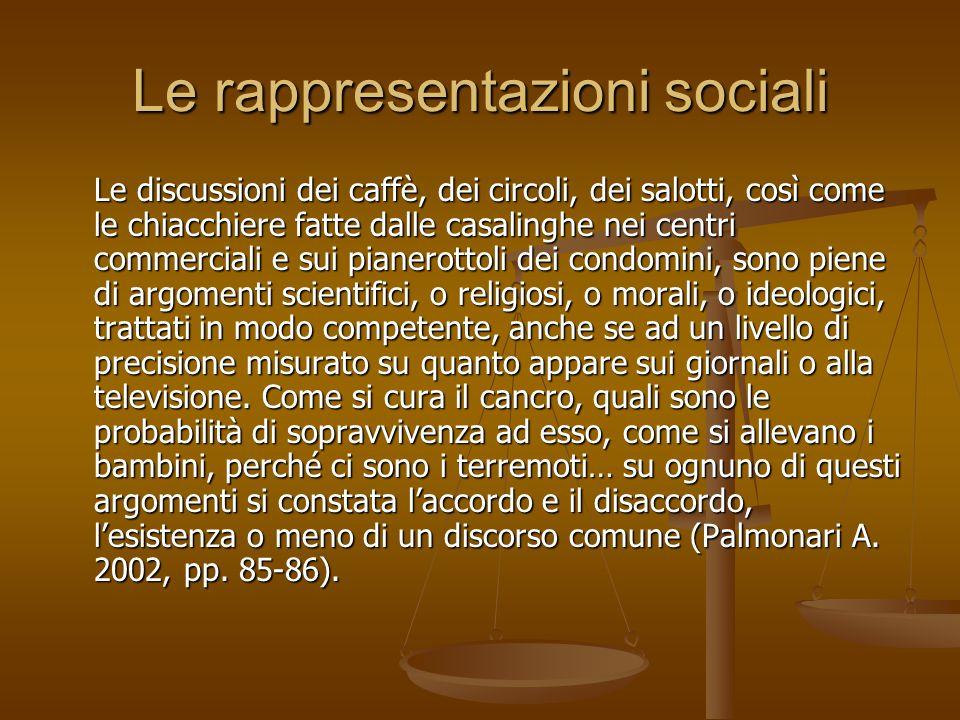 Le rappresentazioni sociali Le discussioni dei caffè, dei circoli, dei salotti, così come le chiacchiere fatte dalle casalinghe nei centri commerciali