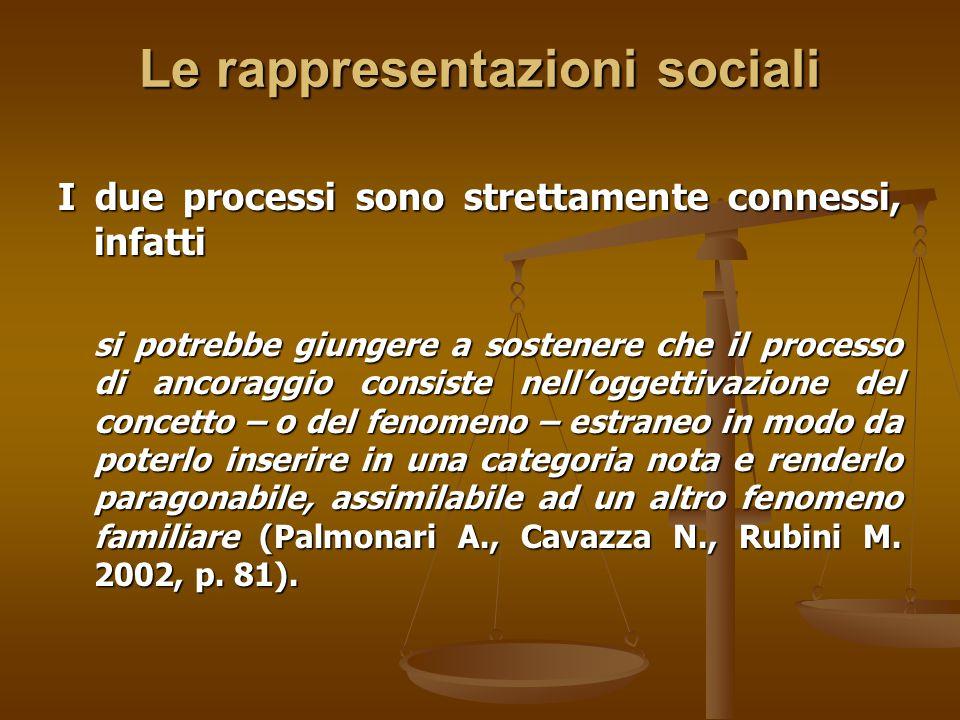 Le rappresentazioni sociali I due processi sono strettamente connessi, infatti si potrebbe giungere a sostenere che il processo di ancoraggio consiste