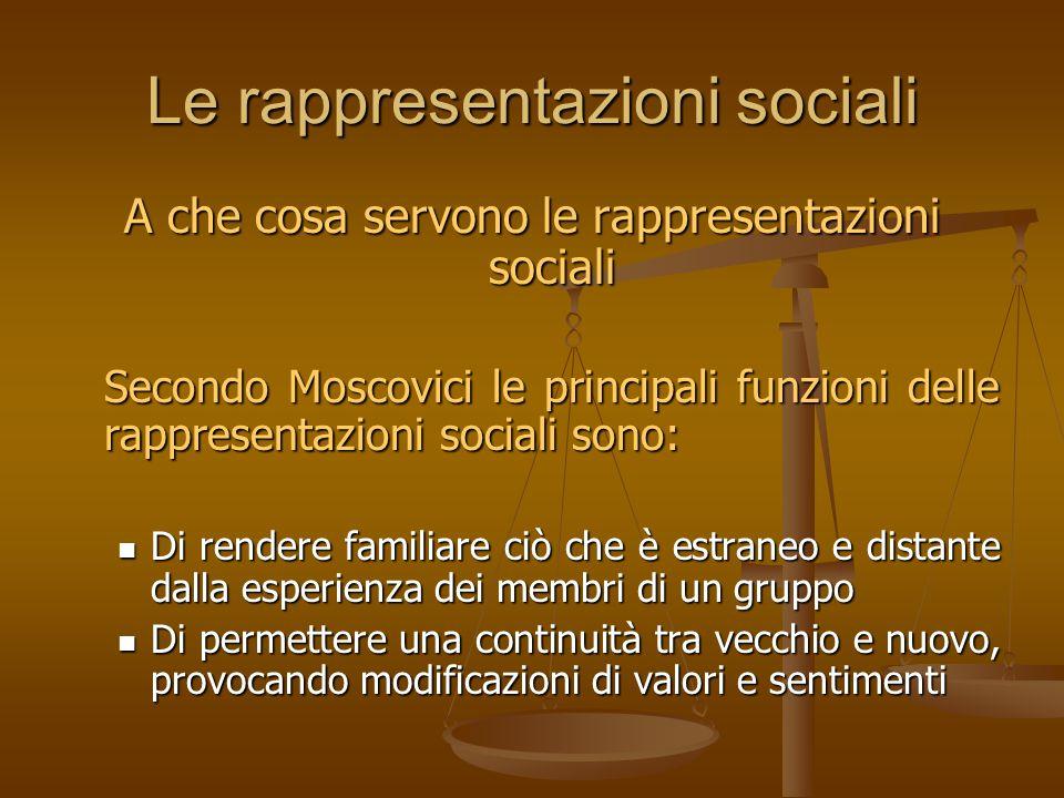Le rappresentazioni sociali A che cosa servono le rappresentazioni sociali Secondo Moscovici le principali funzioni delle rappresentazioni sociali son