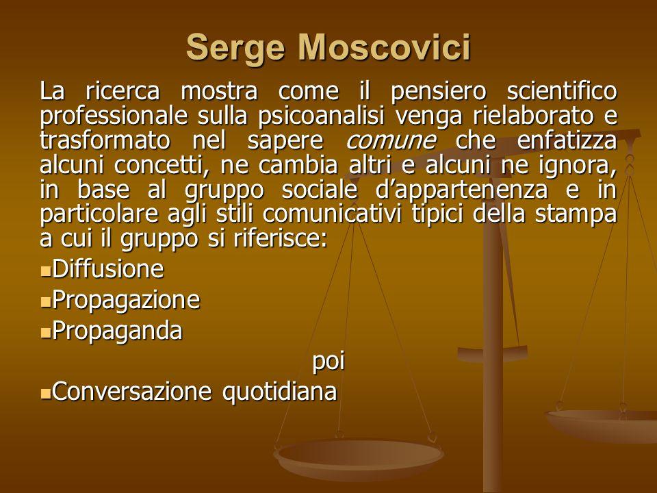 Serge Moscovici La ricerca mostra come il pensiero scientifico professionale sulla psicoanalisi venga rielaborato e trasformato nel sapere comune che