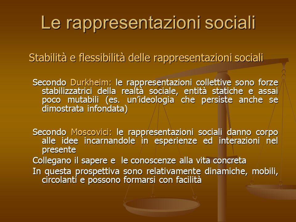 Le rappresentazioni sociali Stabilità e flessibilità delle rappresentazioni sociali Secondo Durkheim: le rappresentazioni collettive sono forze stabil