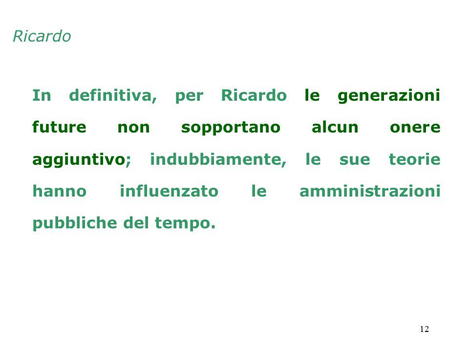12 In definitiva, per Ricardo le generazioni future non sopportano alcun onere aggiuntivo; indubbiamente, le sue teorie hanno influenzato le amministrazioni pubbliche del tempo.
