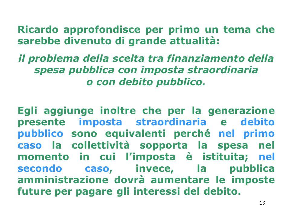 13 Ricardo approfondisce per primo un tema che sarebbe divenuto di grande attualità: il problema della scelta tra finanziamento della spesa pubblica con imposta straordinaria o con debito pubblico.
