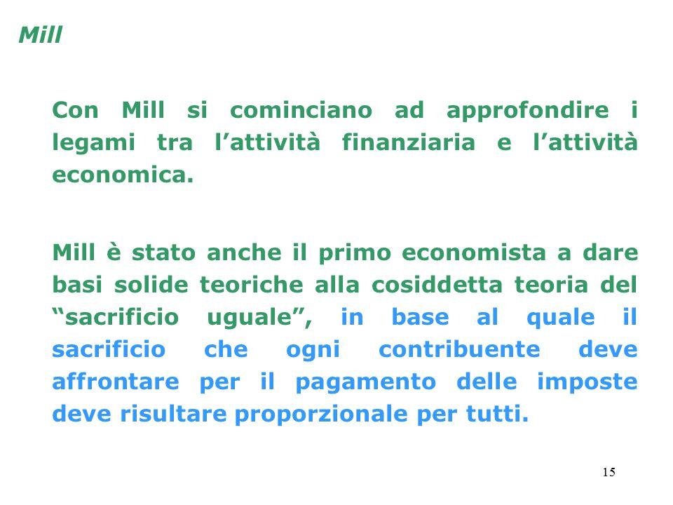 15 Con Mill si cominciano ad approfondire i legami tra l'attività finanziaria e l'attività economica. Mill è stato anche il primo economista a dare ba