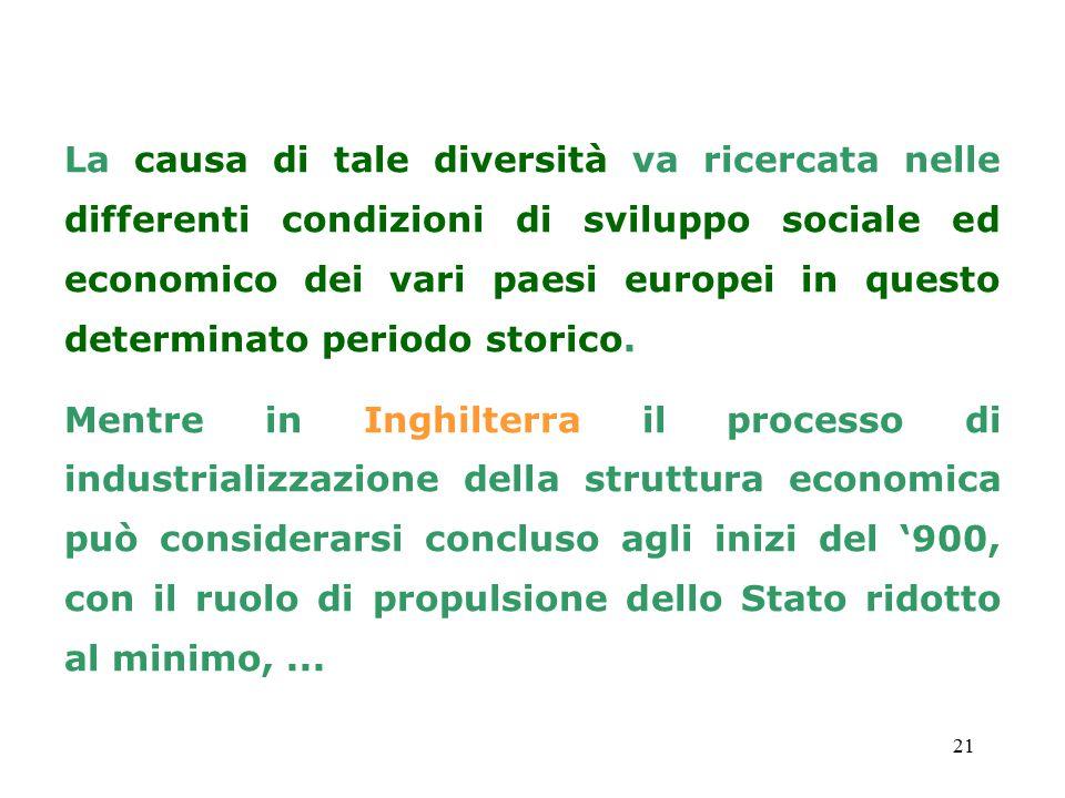 21 La causa di tale diversità va ricercata nelle differenti condizioni di sviluppo sociale ed economico dei vari paesi europei in questo determinato p