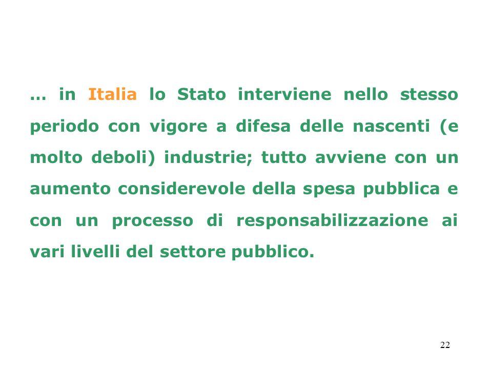 22 … in Italia lo Stato interviene nello stesso periodo con vigore a difesa delle nascenti (e molto deboli) industrie; tutto avviene con un aumento considerevole della spesa pubblica e con un processo di responsabilizzazione ai vari livelli del settore pubblico.
