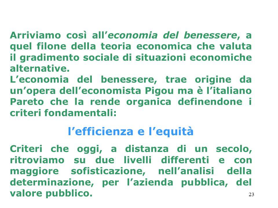 23 Arriviamo così all'economia del benessere, a quel filone della teoria economica che valuta il gradimento sociale di situazioni economiche alternative.