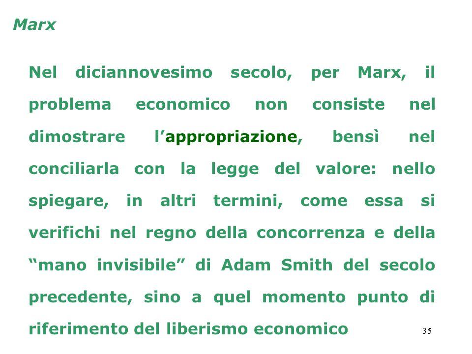 35 Marx Nel diciannovesimo secolo, per Marx, il problema economico non consiste nel dimostrare l'appropriazione, bensì nel conciliarla con la legge del valore: nello spiegare, in altri termini, come essa si verifichi nel regno della concorrenza e della mano invisibile di Adam Smith del secolo precedente, sino a quel momento punto di riferimento del liberismo economico