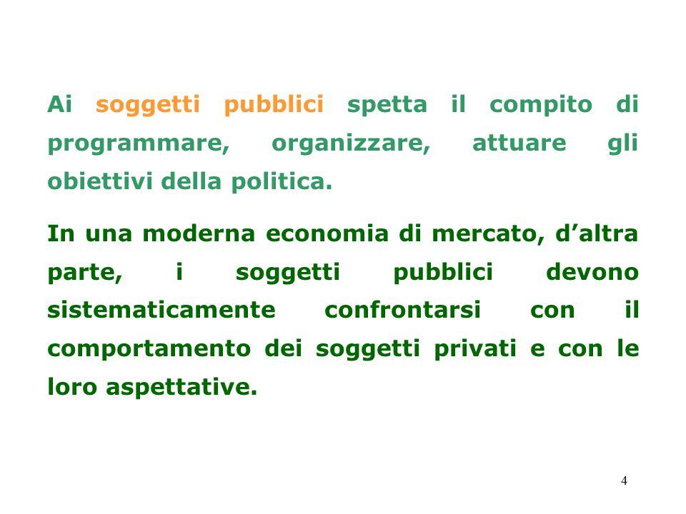 4 Ai soggetti pubblici spetta il compito di programmare, organizzare, attuare gli obiettivi della politica. In una moderna economia di mercato, d'altr