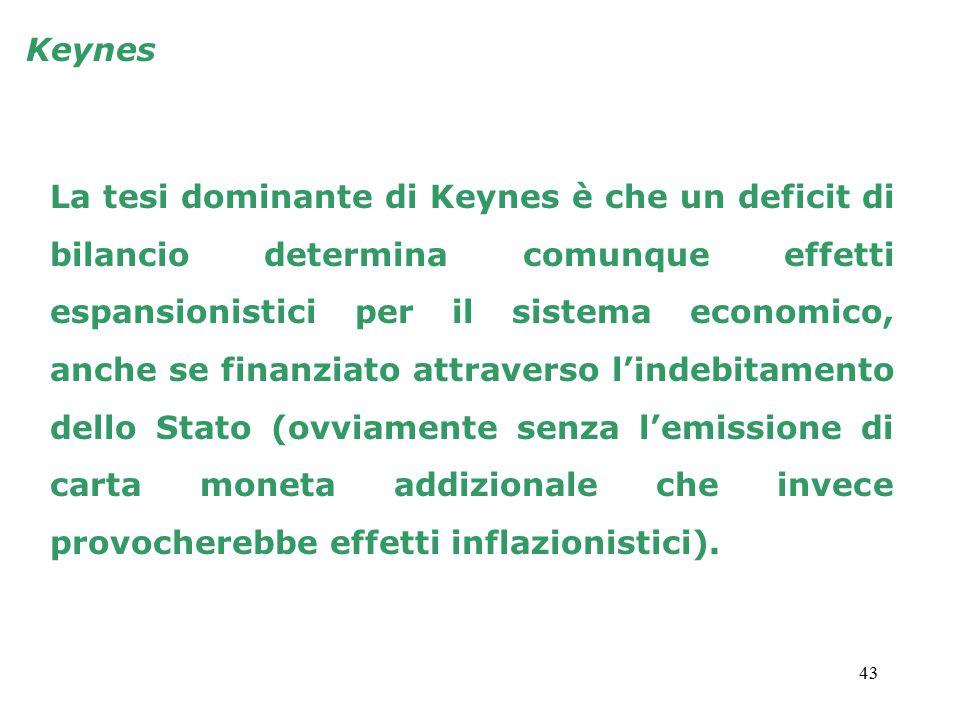 43 Keynes La tesi dominante di Keynes è che un deficit di bilancio determina comunque effetti espansionistici per il sistema economico, anche se finanziato attraverso l'indebitamento dello Stato (ovviamente senza l'emissione di carta moneta addizionale che invece provocherebbe effetti inflazionistici).
