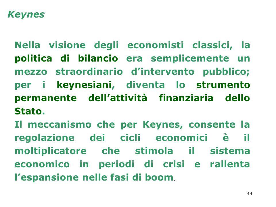 44 Keynes Nella visione degli economisti classici, la politica di bilancio era semplicemente un mezzo straordinario d'intervento pubblico; per i keynesiani, diventa lo strumento permanente dell'attività finanziaria dello Stato.