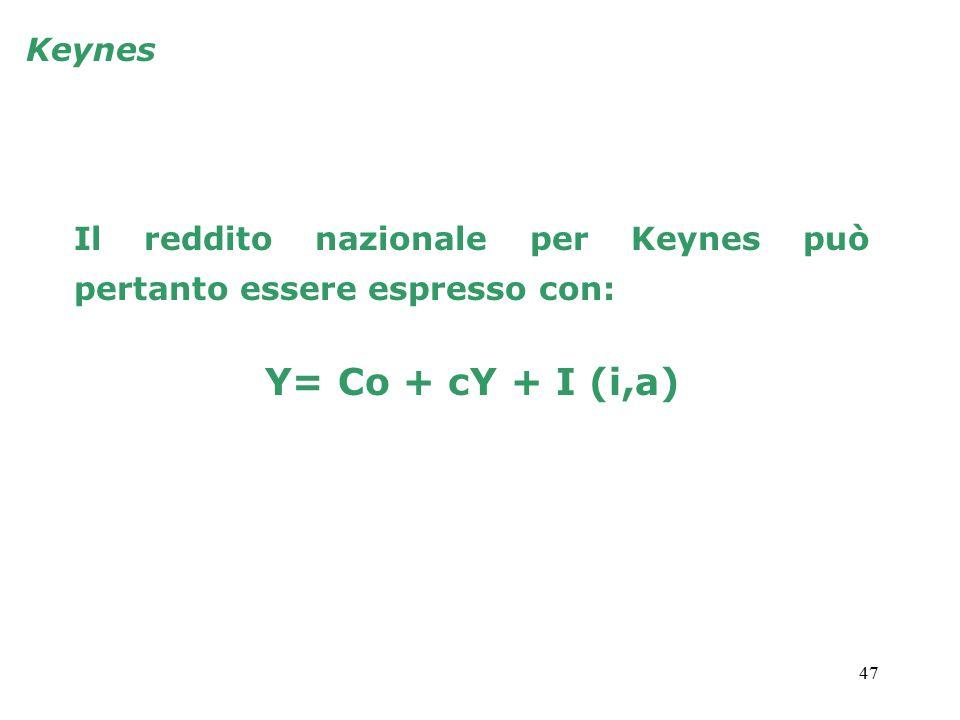 47 Keynes Il reddito nazionale per Keynes può pertanto essere espresso con: Y= Co + cY + I (i,a)
