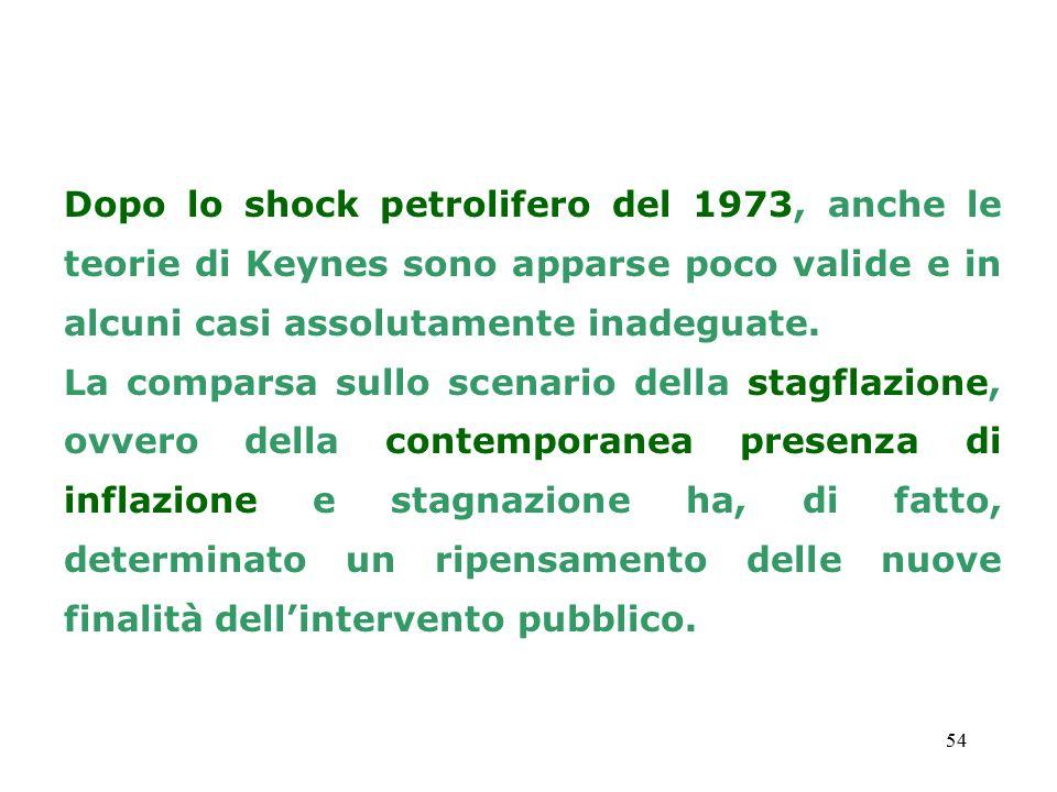 54 Dopo lo shock petrolifero del 1973, anche le teorie di Keynes sono apparse poco valide e in alcuni casi assolutamente inadeguate. La comparsa sullo