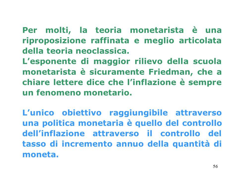 56 Per molti, la teoria monetarista è una riproposizione raffinata e meglio articolata della teoria neoclassica.