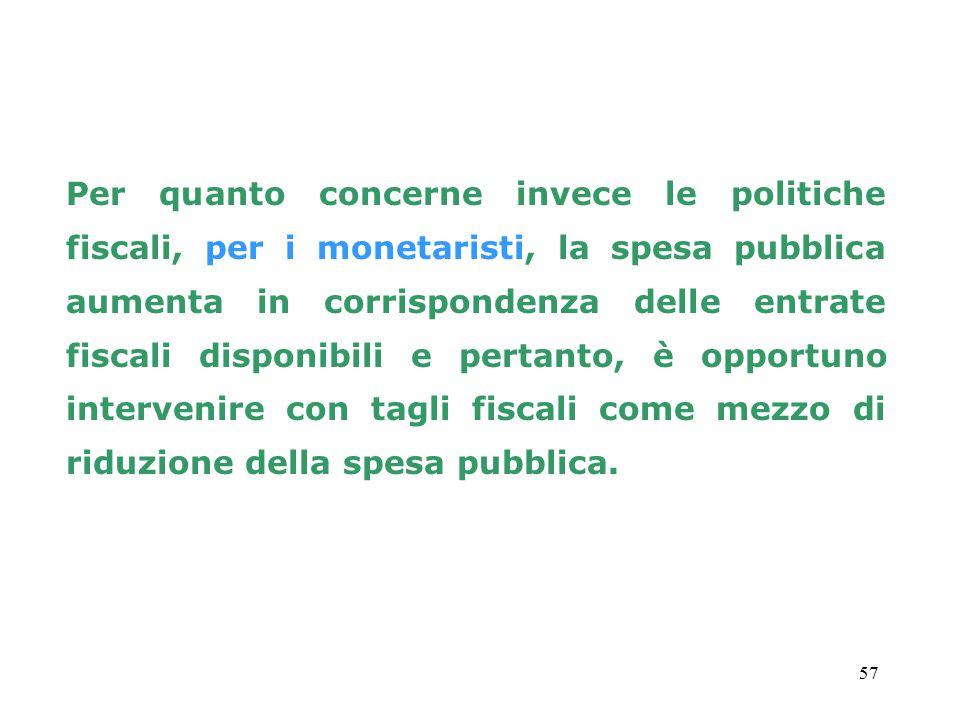 57 Per quanto concerne invece le politiche fiscali, per i monetaristi, la spesa pubblica aumenta in corrispondenza delle entrate fiscali disponibili e pertanto, è opportuno intervenire con tagli fiscali come mezzo di riduzione della spesa pubblica.