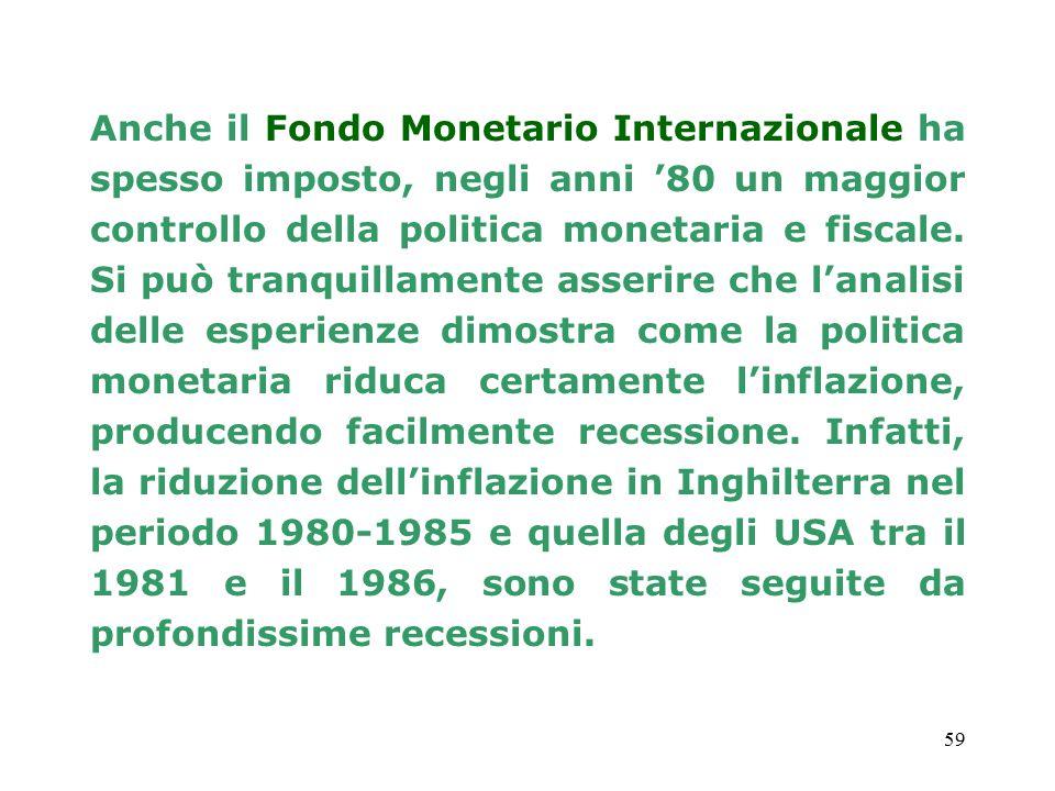 59 Anche il Fondo Monetario Internazionale ha spesso imposto, negli anni '80 un maggior controllo della politica monetaria e fiscale.