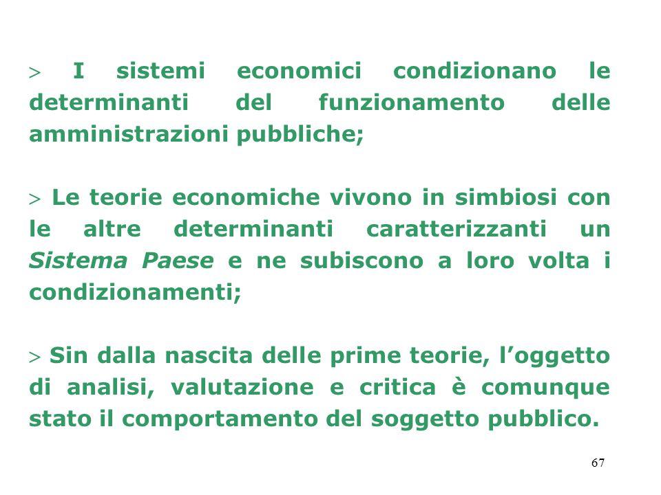 67  I sistemi economici condizionano le determinanti del funzionamento delle amministrazioni pubbliche;  Le teorie economiche vivono in simbiosi con