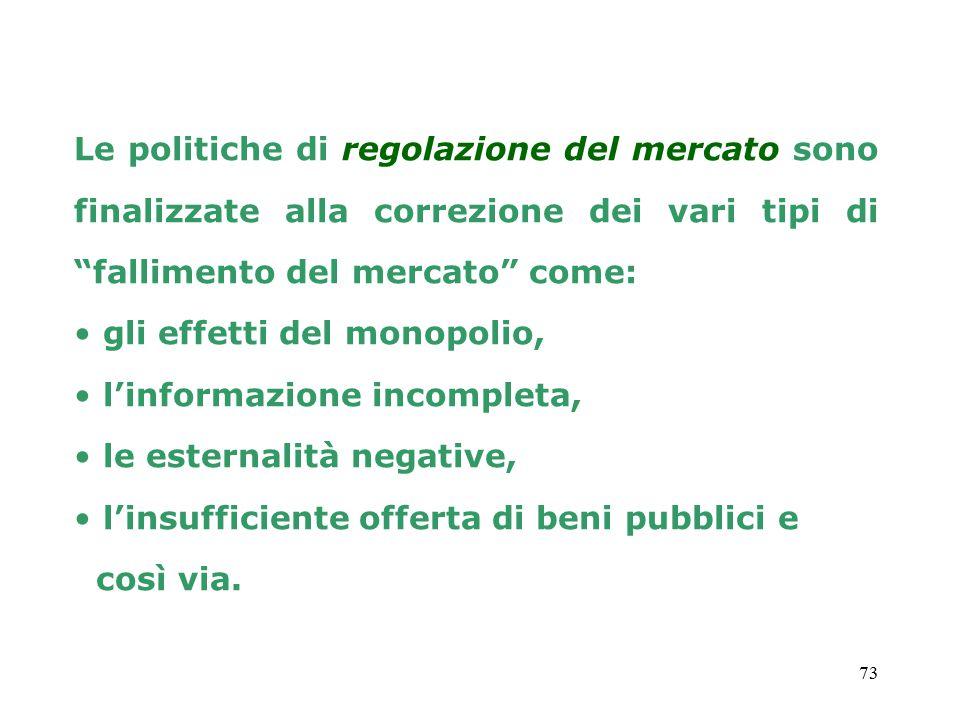 73 Le politiche di regolazione del mercato sono finalizzate alla correzione dei vari tipi di fallimento del mercato come: gli effetti del monopolio, l'informazione incompleta, le esternalità negative, l'insufficiente offerta di beni pubblici e così via.