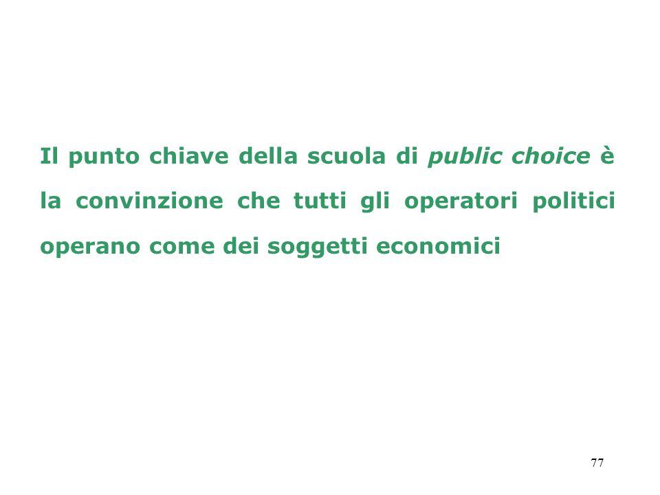 77 Il punto chiave della scuola di public choice è la convinzione che tutti gli operatori politici operano come dei soggetti economici