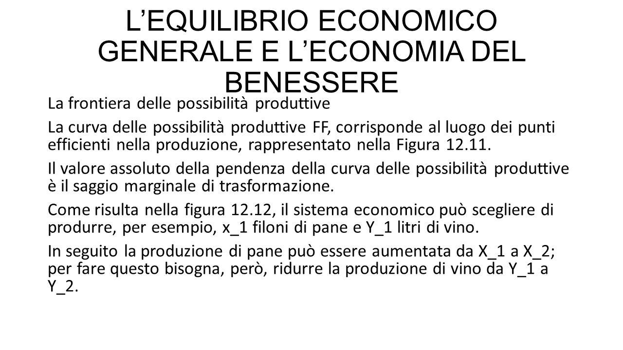 L'EQUILIBRIO ECONOMICO GENERALE E L'ECONOMIA DEL BENESSERE Il rapporto tra la distanza (Y_2-Y_1) e la distanza (X_2-X_1) prende il nome di saggio marginale di trasformazione (marginale rate of Transformation, MRT) tra pane e vino, perché indica il tasso al quale un sistema economico può «trasformare» il pane in vino ( è ovvio che il pane non viene letteralmente trasformato in vino, ma vengono sottratte risorse alla produzione di pane per destinarle alla produzione di vino).