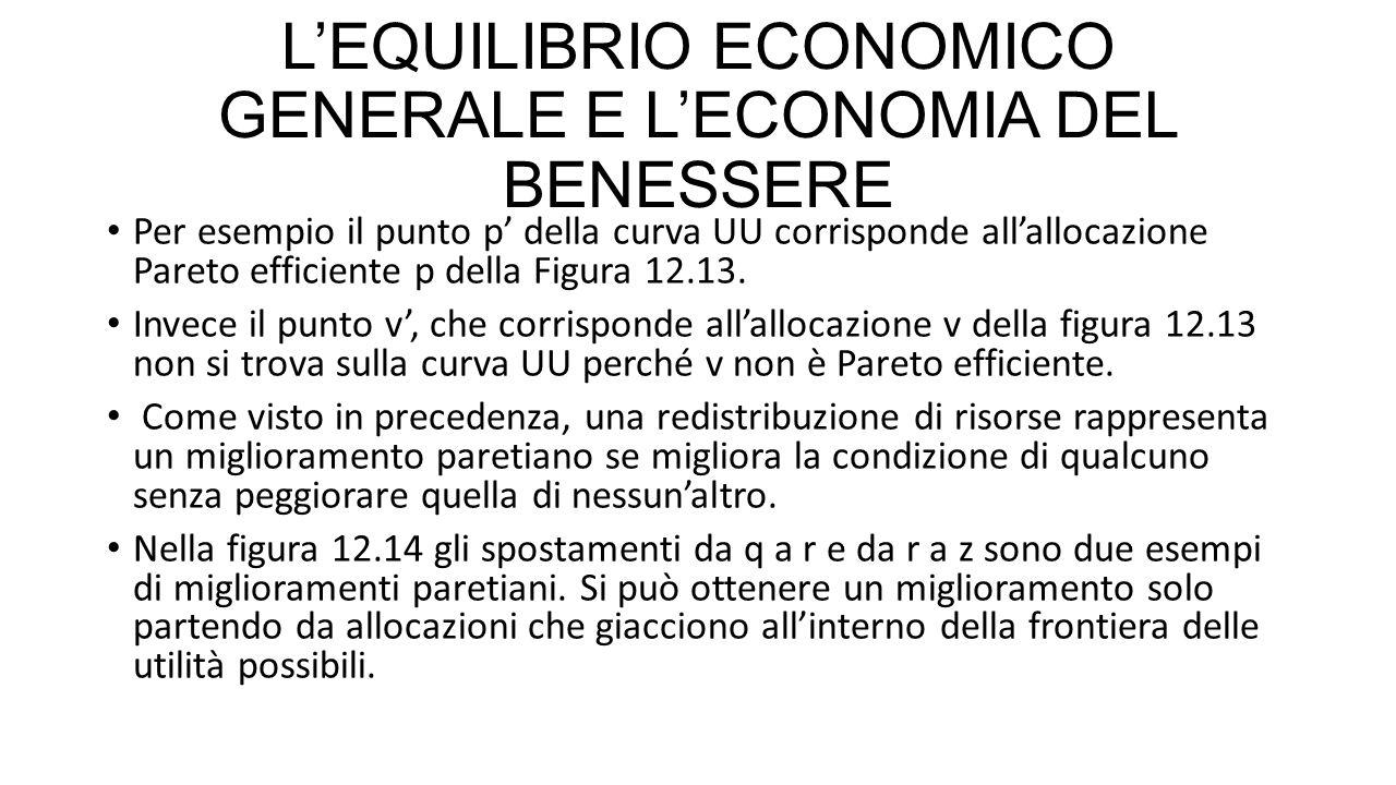 L'EQUILIBRIO ECONOMICO GENERALE E L'ECONOMIA DEL BENESSERE Per esempio il punto p' della curva UU corrisponde all'allocazione Pareto efficiente p dell