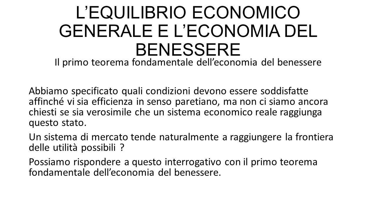 L'EQUILIBRIO ECONOMICO GENERALE E L'ECONOMIA DEL BENESSERE Il primo teorema fondamentale dell'economia del benessere Abbiamo specificato quali condizi