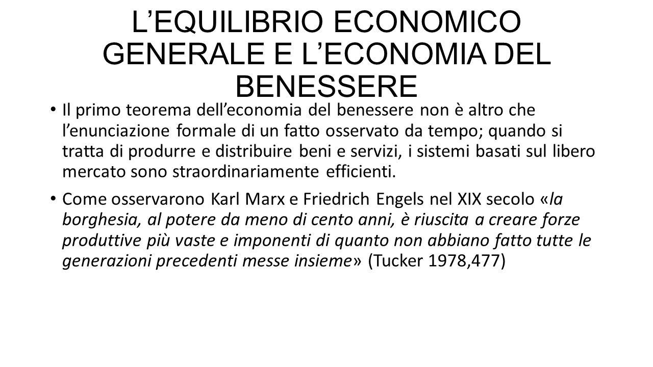 L'EQUILIBRIO ECONOMICO GENERALE E L'ECONOMIA DEL BENESSERE Il primo teorema dell'economia del benessere non è altro che l'enunciazione formale di un f
