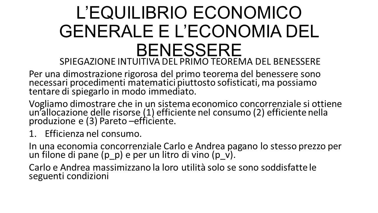 L'EQUILIBRIO ECONOMICO GENERALE E L'ECONOMIA DEL BENESSERE SPIEGAZIONE INTUITIVA DEL PRIMO TEOREMA DEL BENESSERE Per una dimostrazione rigorosa del pr