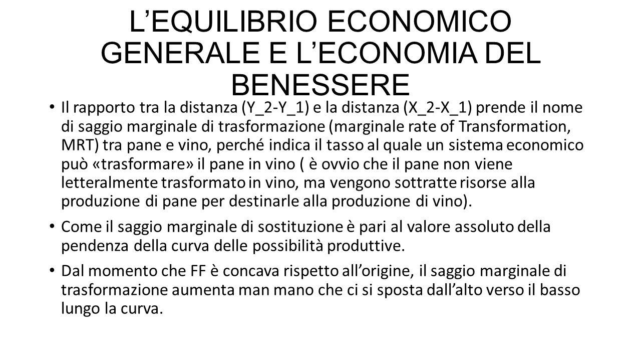 L'EQUILIBRIO ECONOMICO GENERALE E L'ECONOMIA DEL BENESSERE E' utile esprimere il saggio marginale di trasformazione in termini di costo marginale (MC), vale a dire l'incremento dei costi conseguente alla produzione di un'unità in più.