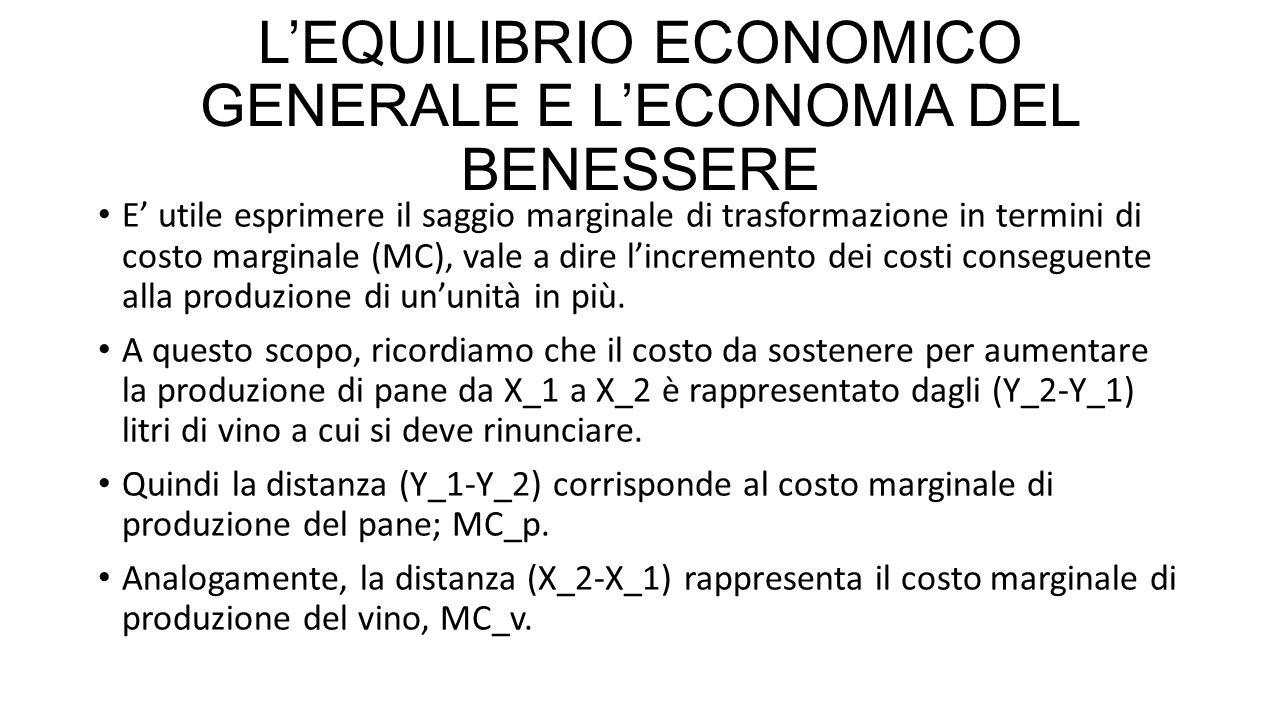L'EQUILIBRIO ECONOMICO GENERALE E L'ECONOMIA DEL BENESSERE E' utile esprimere il saggio marginale di trasformazione in termini di costo marginale (MC)