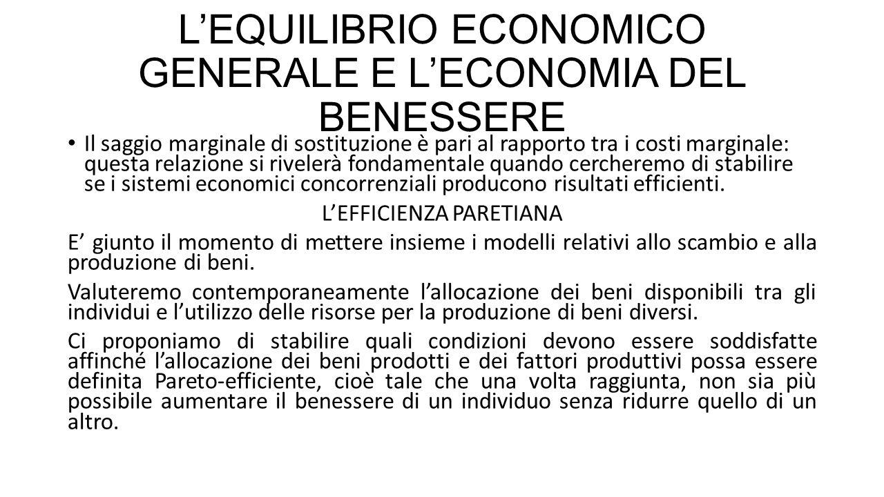 L'EQUILIBRIO ECONOMICO GENERALE E L'ECONOMIA DEL BENESSERE PRIMO TEOREMA DEL BENESSERE Se produttori e consumatori non fanno il prezzo e per tutti i beni esiste un mercato, allora l'allocazione di equilibrio delle risorse è Pareto efficiente.